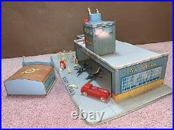 Vintage Tin Toy Marx Airport Playset w People & Some Accessories
