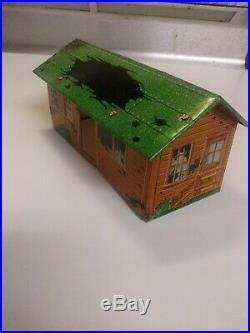 Vintage marx battleground playset tin litho destroyed building Extremely Rare