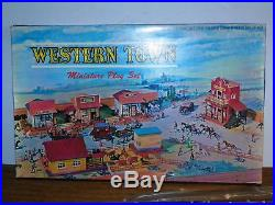Vtg Louis Marx Toys Miniature Western Town Playset 100% Complete Old West Cowboy